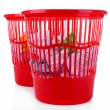 Two red garbage bins, isolated on white — Stok fotoğraf