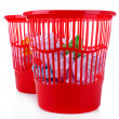 Two red garbage bins, isolated on white — Stock Photo #37940697