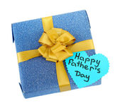 Happy Fathers Day tag with gift box, isolated on white — Stock Photo