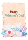 Piękne kartki papieru z serca ozdobny, na białym tle — Zdjęcie stockowe