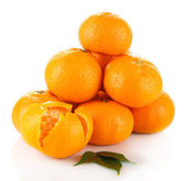 Ripe tangerines isolated on white — Stock Photo