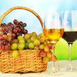 Ripe grapes in wicker basket, and two glasses of wine, on bright background — Stock Photo