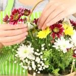 Florist makes flowers bouquet in wicker basket — Stock Photo #37956653