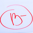 Grade B- written on an exam paper — Stock Photo #37957147