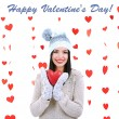 Attractive young woman with heart on Valentine Day — 图库照片