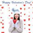 Attractive young woman with heart on Valentine Day — Stok Fotoğraf #37957249