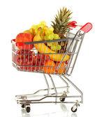 Fruta madura no carrinho metal isolado no fundo branco — Foto Stock