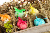 Easter eggs in wooden box with hay close-up — Stock Photo