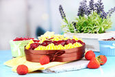Tasty fruity homemade pie with berries, on table — Stock Photo