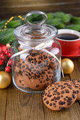 Delicious Christmas cookies in jar on table close-up — Stock Photo
