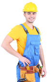 Male builder in yellow helmet isolated on white — Stock Photo