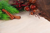 Christmas card on wooden background — Stockfoto