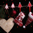Christmas accessories on black background with lights — Stock Photo #38029585