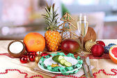 Dietary food on New Year's table on room background — ストック写真