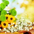 Beautiful flowers with yellow leaves on table on bright background — Stock Photo #38102291