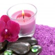 Beautiful colorful candles and orchid flower, isolated on white — Stock Photo
