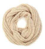 Warm knitted scarf isolated on white — Stock Photo
