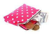 Pink purse with money isolated on white — Stock Photo