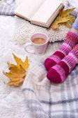 Komposition mit warmen plaid, buch, tasse heißes getränk und weibliche beine, auf farbe teppich hintergrund — Stockfoto