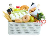 Box with products isolated on white — Stock Photo