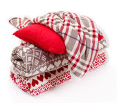 Warm plaids and pillow isolated on white — Foto Stock