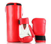 Boxing gloves and punching bag, isolated on white — Zdjęcie stockowe