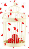 Heart in decorative cage, isolated on white — Stock Photo