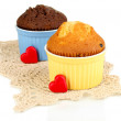 Cupcakes in bowls for baking isolated on white — Stock Photo #38184173