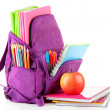 Purple backpack with school supplies isolated on white — Stock Photo #38185845
