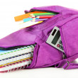 Purple backpack with school supplies isolated on white — Stock Photo #38185849