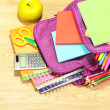 Purple backpack with school supplies on wooden background — Stock Photo #38185865