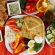 Traditional Turkish breakfast on fabric background — Stock Photo #38186455