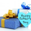 Happy Fathers Day tag with gift boxes, isolated on white — Stock Photo