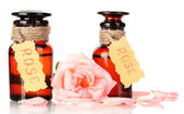 Bottles of oil and rose isolated on white — Stock Photo
