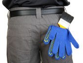 Brush and gloves in back pocket close-up — Stock Photo