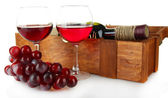 Composition of wine,box and grapes isolated on white — Stock Photo
