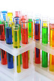 Colorful test tubes isolated on white — Stock Photo