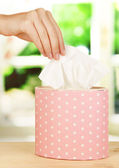 Cleaning wipes on window background — Stock Photo