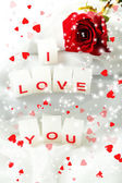Candles with printed sign I LOVE YOU,on white fabric background — 图库照片