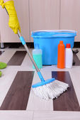 House cleaning with mop — Stock fotografie