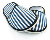 Striped slippers isolated on white — Stock Photo