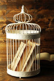 Books in decorative cage on wooden background — Stock Photo