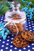 Delicious Christmas cookies in jar on table close-up — Zdjęcie stockowe