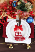 Serving Christmas table close-up — Foto Stock