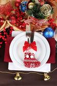 Serving Christmas table close-up — ストック写真