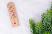 Thermometer in snow close-up — Stock Photo