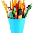Colorful pencils and other art supplies in pail isolated on white — Stock Photo #38325039