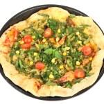 Tasty vegetarian pizza, isolated on white — Stock Photo