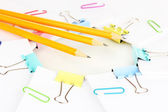 Documents with binder clips close up — Stock Photo