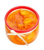 Orange jam with zest, isolated on white — Stock Photo
